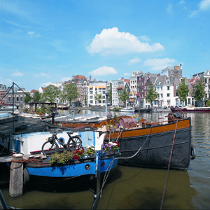 Boats along the beautiful canals of Amsterdam