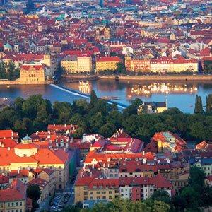 Prague located on the lovely River Vltava