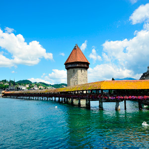 The Chapel Bridge in Lucerne, Switzerland
