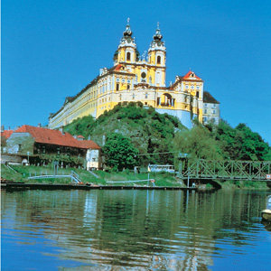 Melk Abbey overlooking the river Danube in Austria