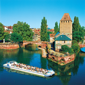 View of Strasbourg, situated on the banks of the Rhine River