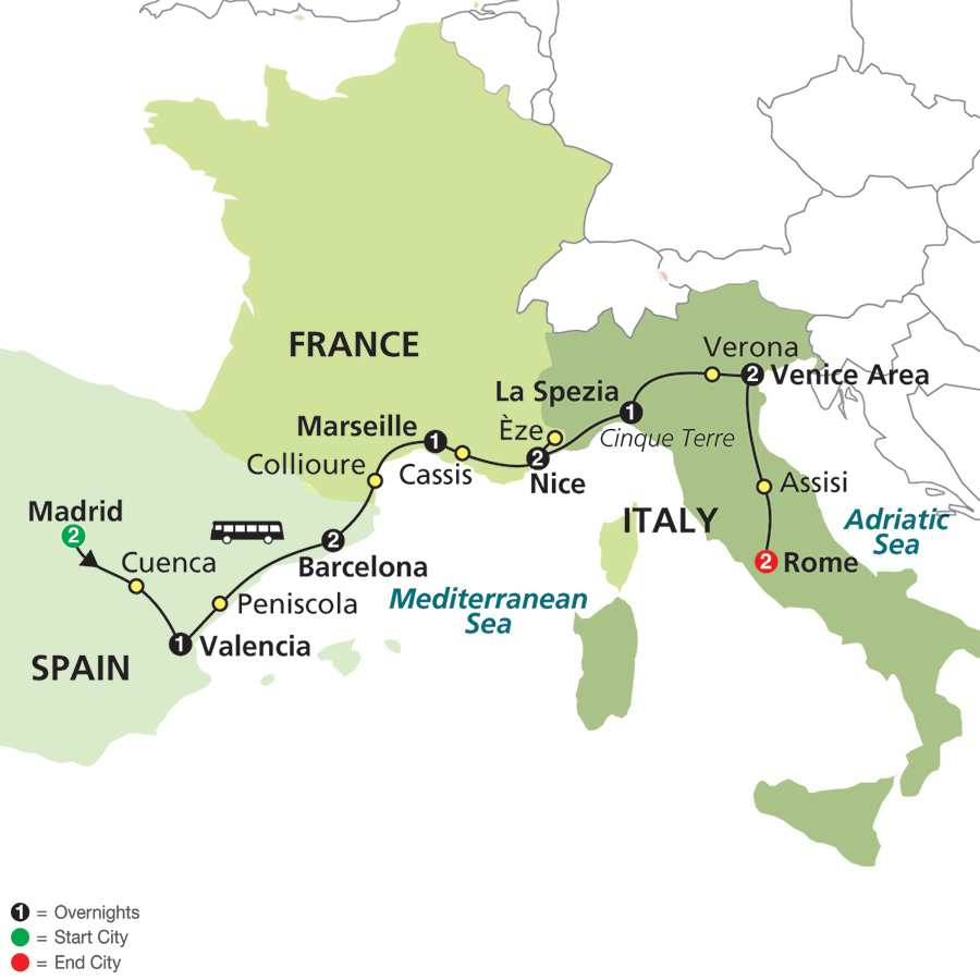 Italy, France & Spain Tour Package