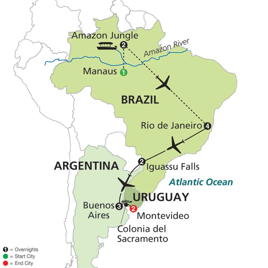 The Best of Brazil & Argentina with Brazil's Amazon & Uruguay map