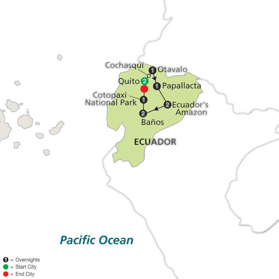 Ecuador: From the Andes to the Amazon map