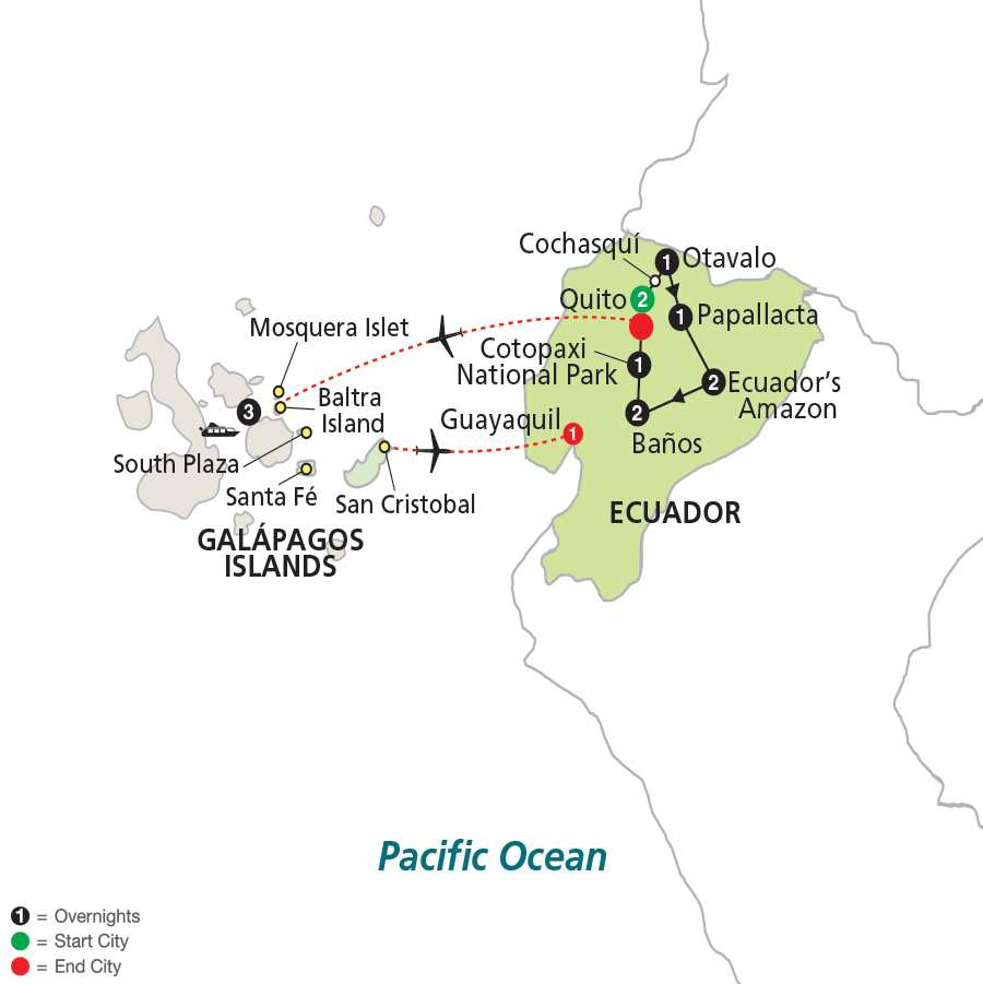 Ecuador: From the Andes to the Amazon with Galapagos Cruise map