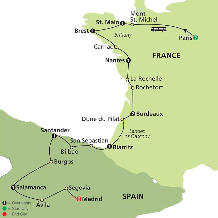 Secret Treasures of France & Spain map