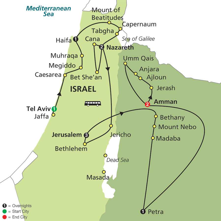 Holy Land Discovery with Jordan – Faith-Based Travel map