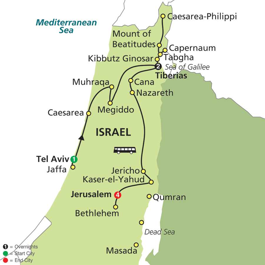 Protestant Classic Israel – Faith-Based Travel map