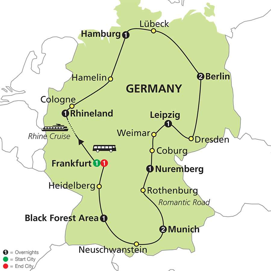 Highlights of Germany map
