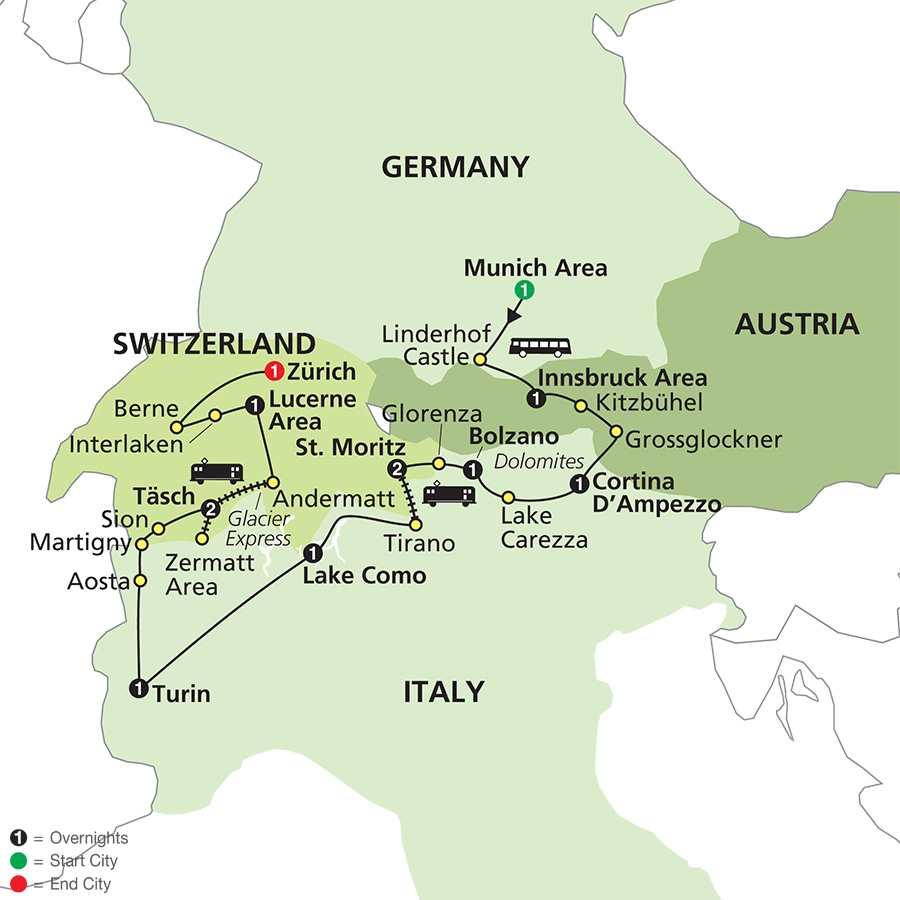 Alpine Adventure, Bernina & Glacier Express map