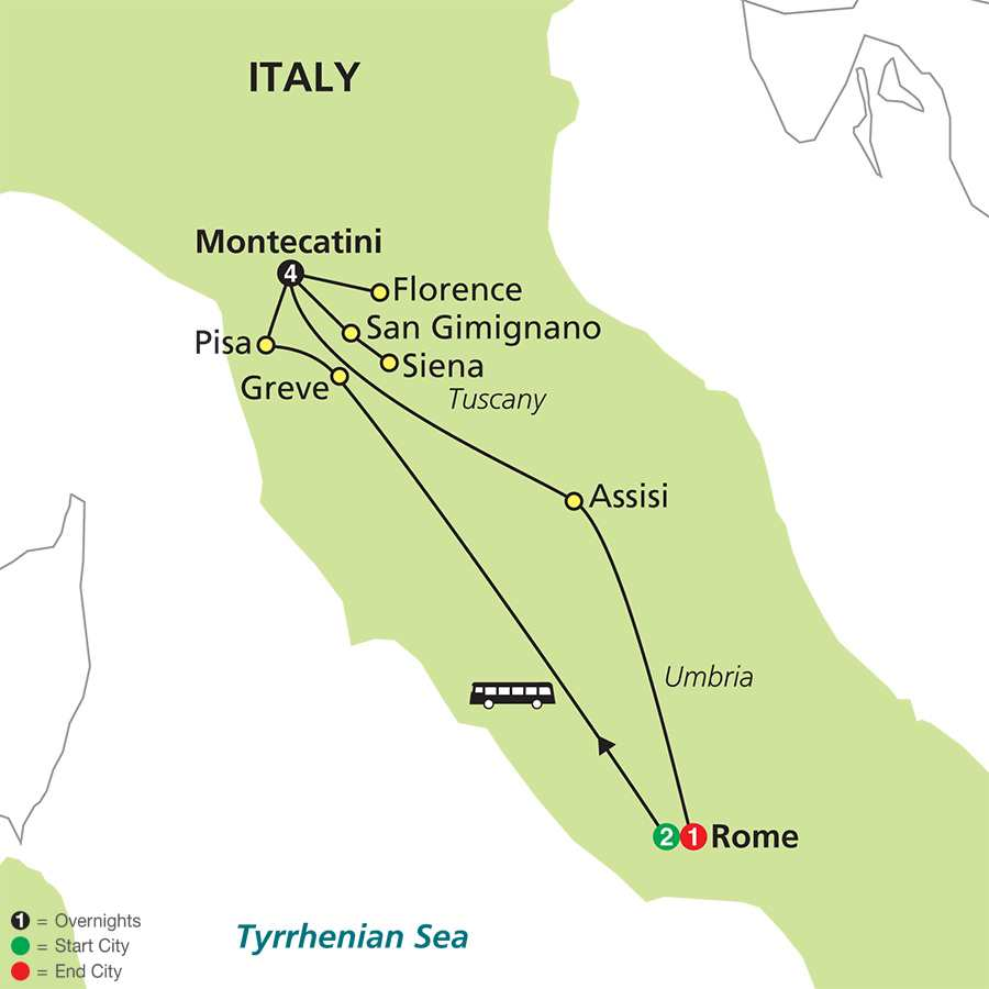 Leisurely Tuscany & Rome map