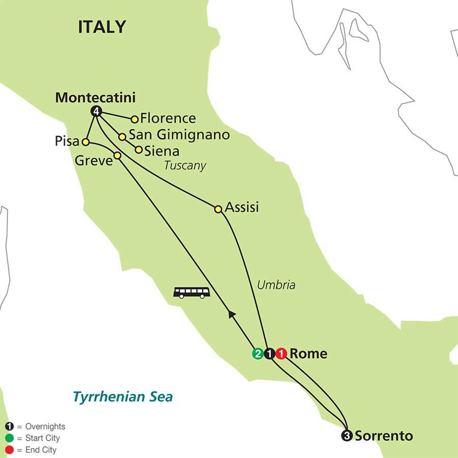 Leisurely Tuscany & Rome with Sorrento map