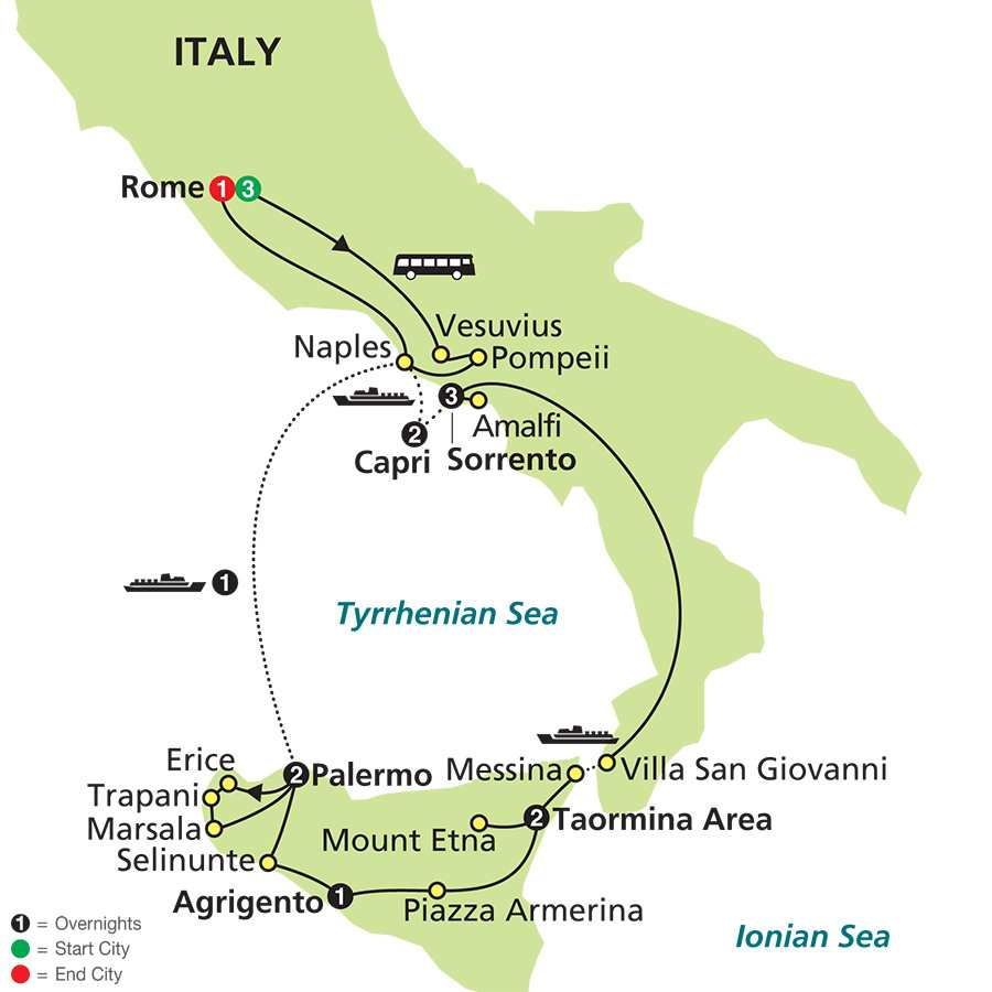 Southern Italy & Sicily map