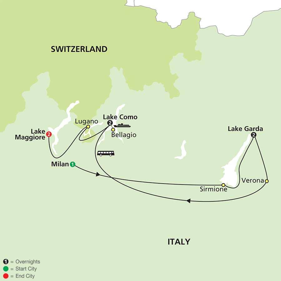 The Magic of the Italian Lakes map