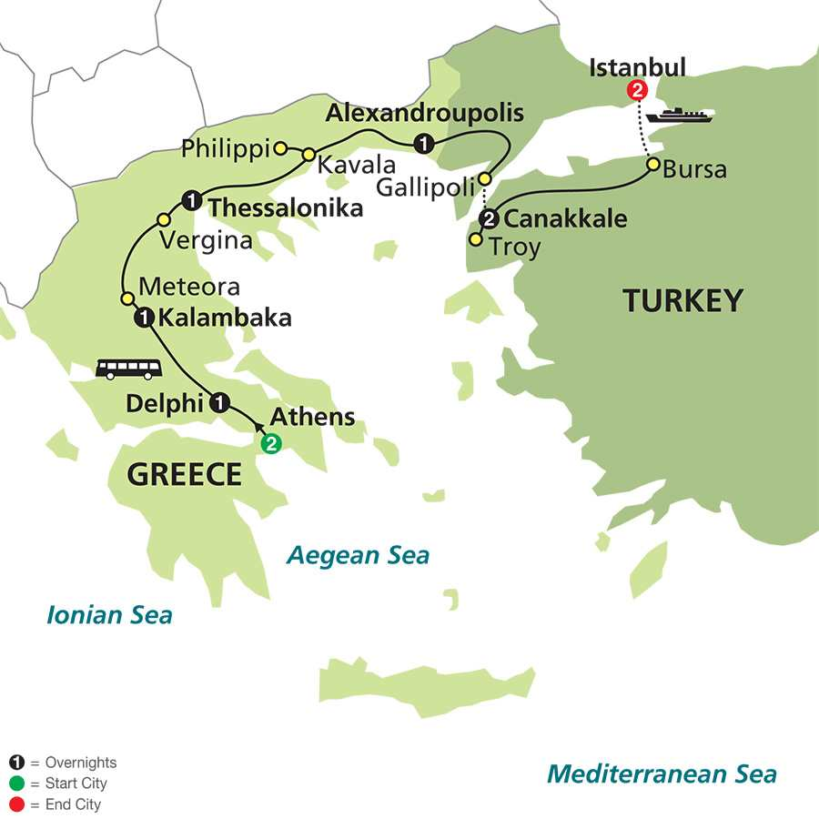 Highlights of Greece & Turkey map