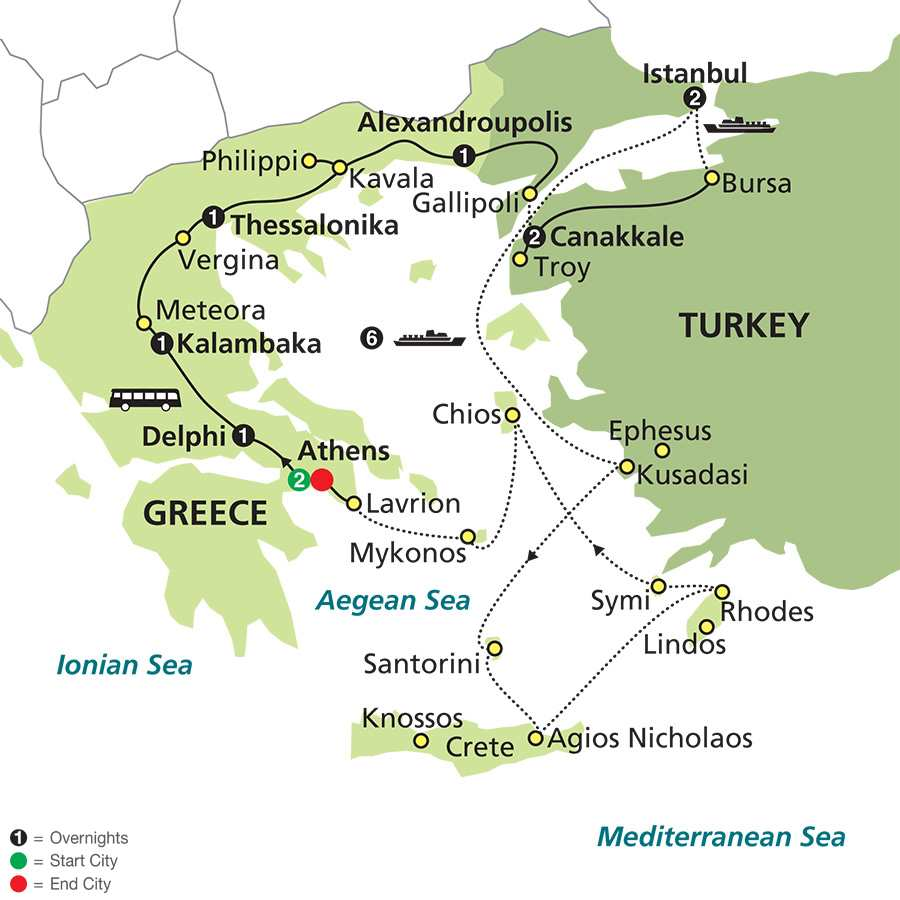 Highlights of Greece & Turkey with Aegean Cruise map