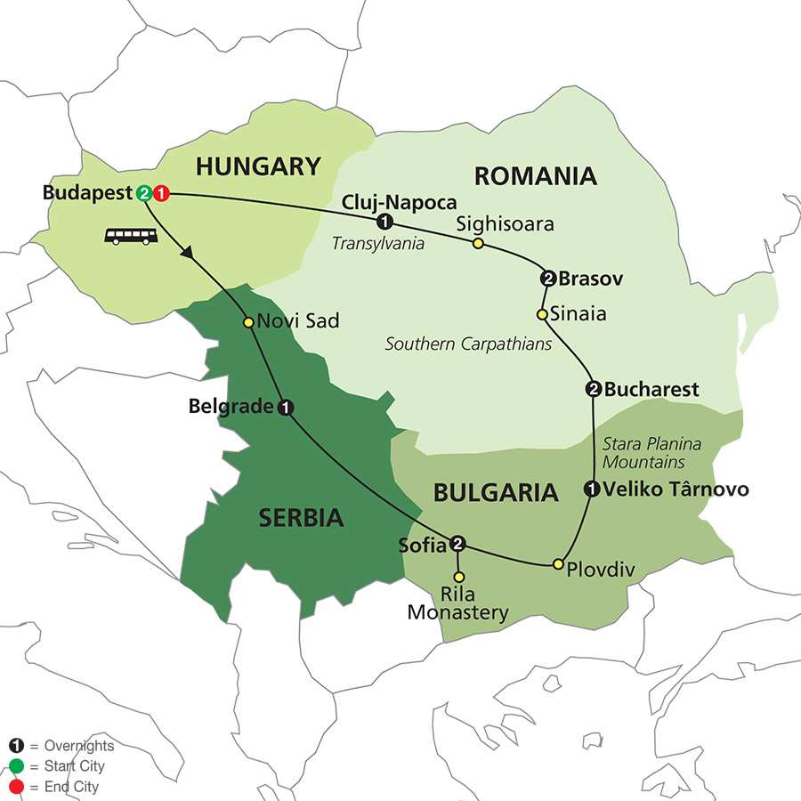 Treasures of the Balkans & Transylvania map