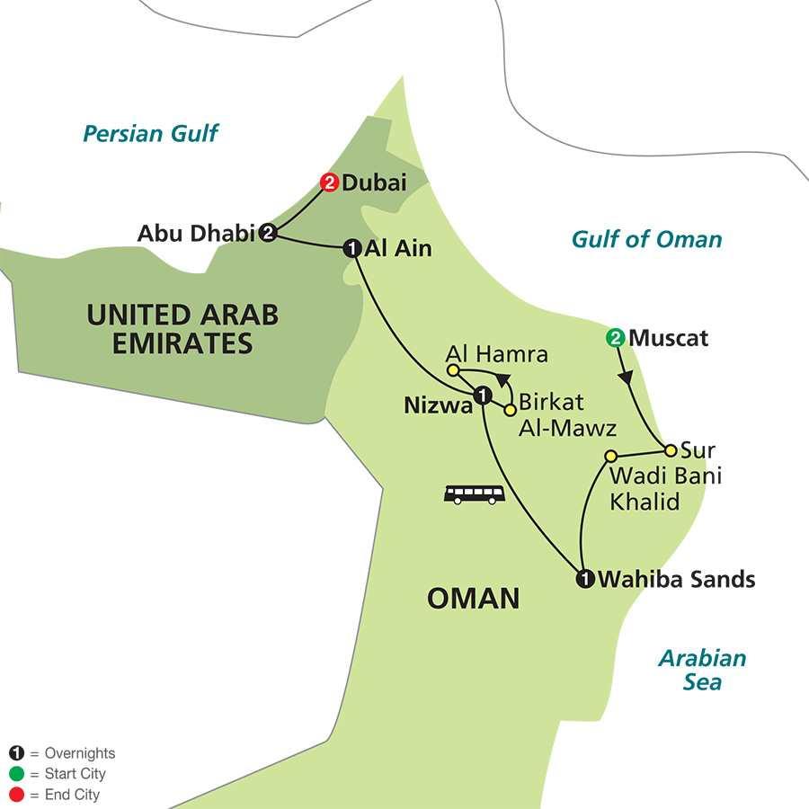Oman & The United Arab Emirates map