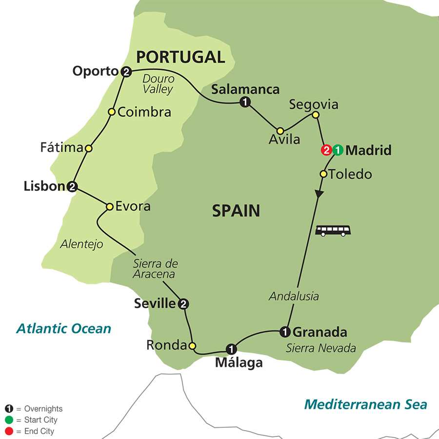 The Best of Spain & Portugal map