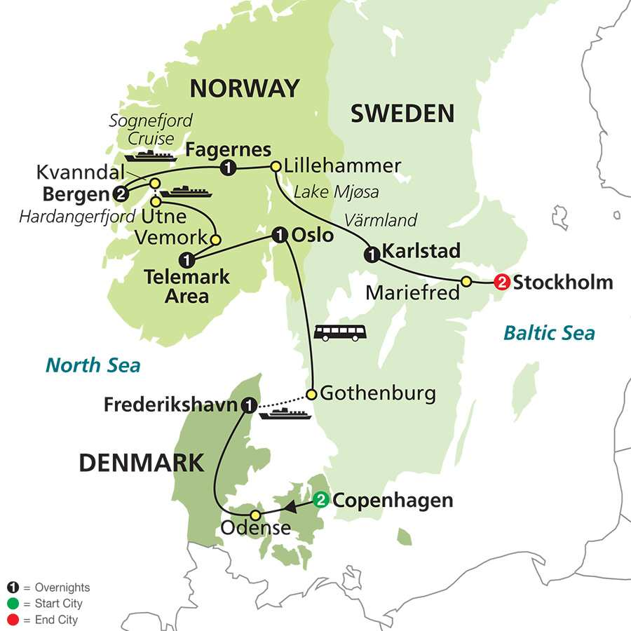 Focus on Scandinavia map