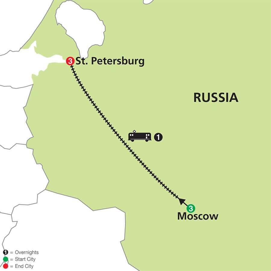 Moscow & St. Petersburg map