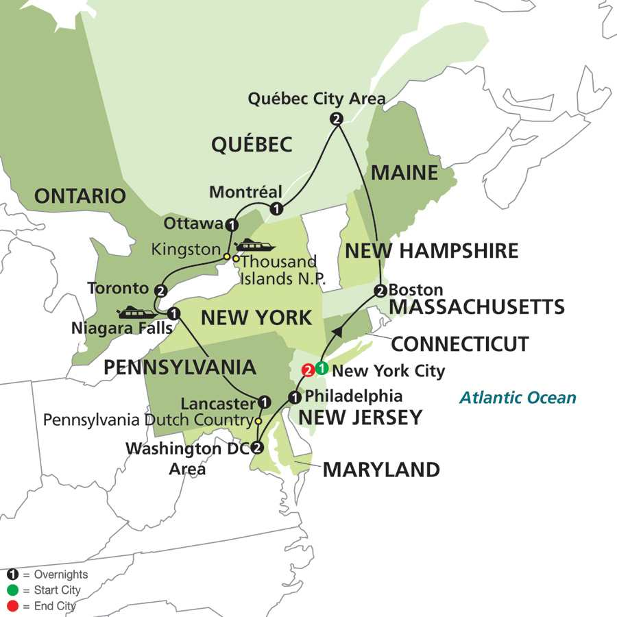 Eastern US & Canada Grand Vacation with Extended Stay in New York City map