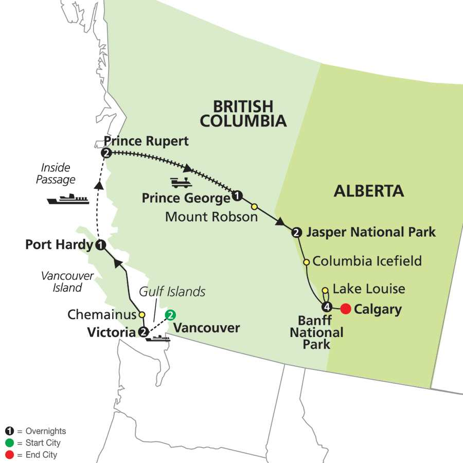 Totem Circle with Extended Stay in Banff map