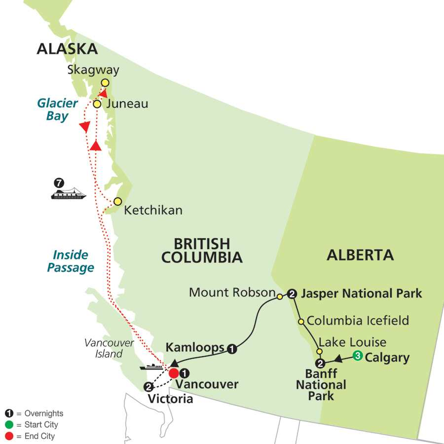 Heart of the Canadian Rockies with Calgary Stampede & Alaska Cruise map