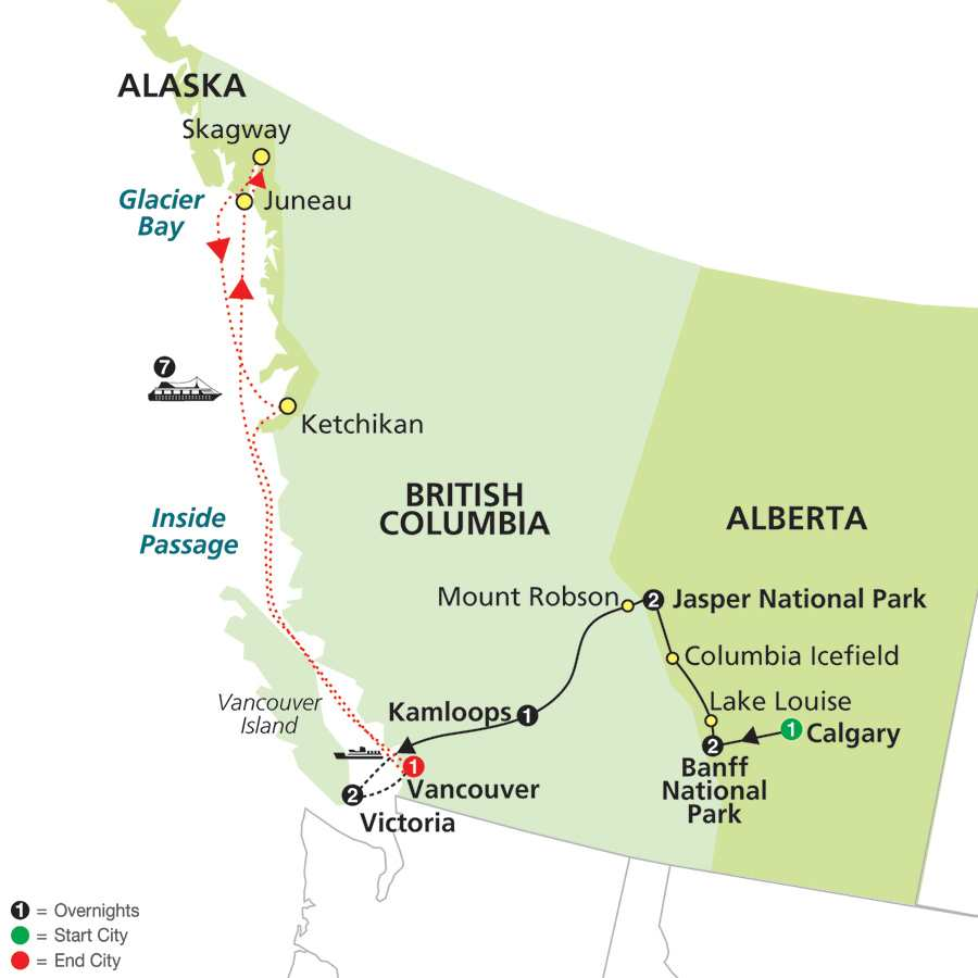 Heart of the Canadian Rockies with Alaska Cruise map