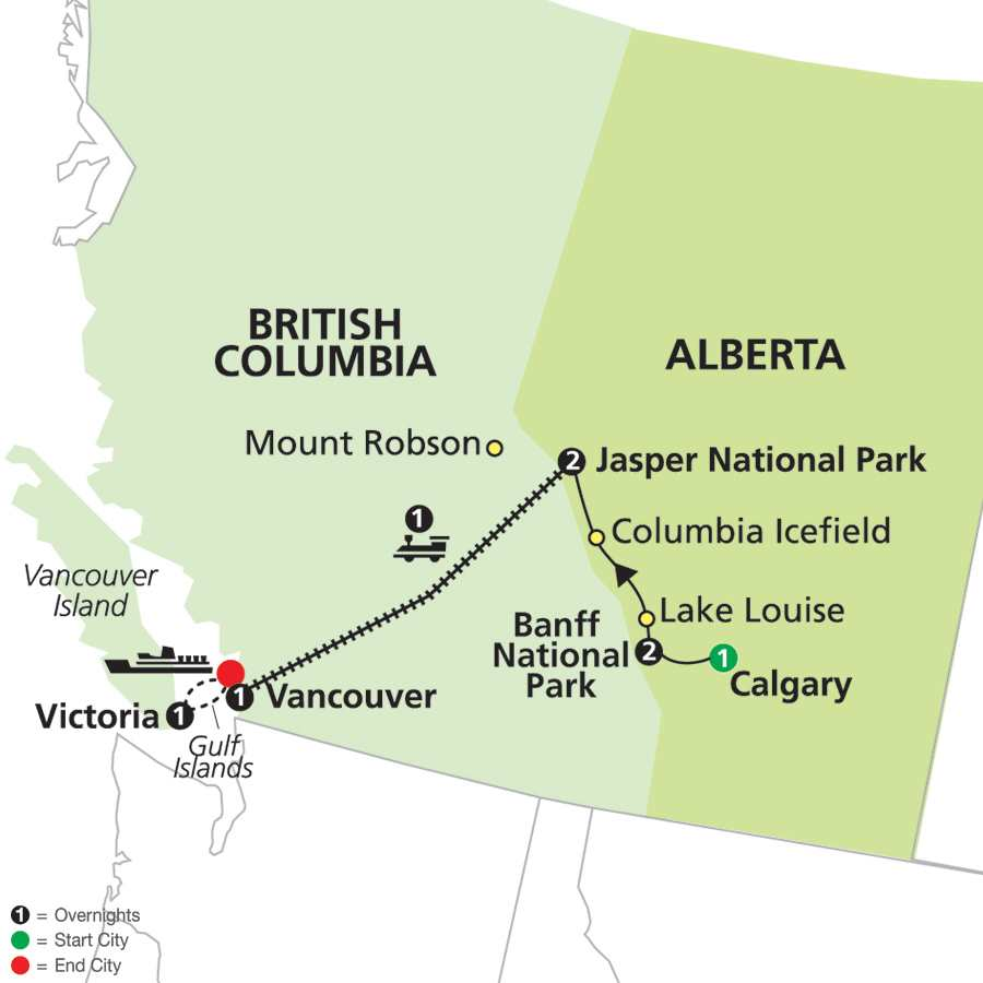 Western Canada by Rail on VIA Rail map