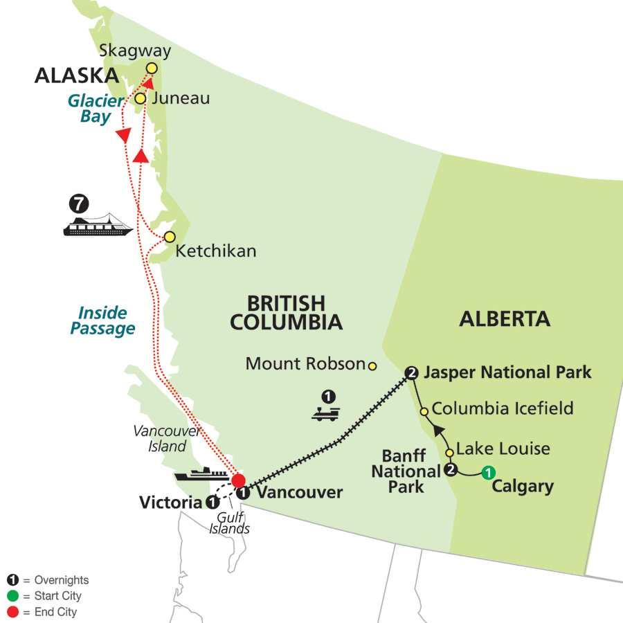 Western Canada by Rail on VIA Rail with Alaska Cruise map