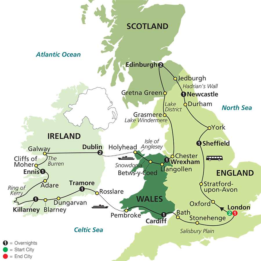 The Best of Britain & Ireland map