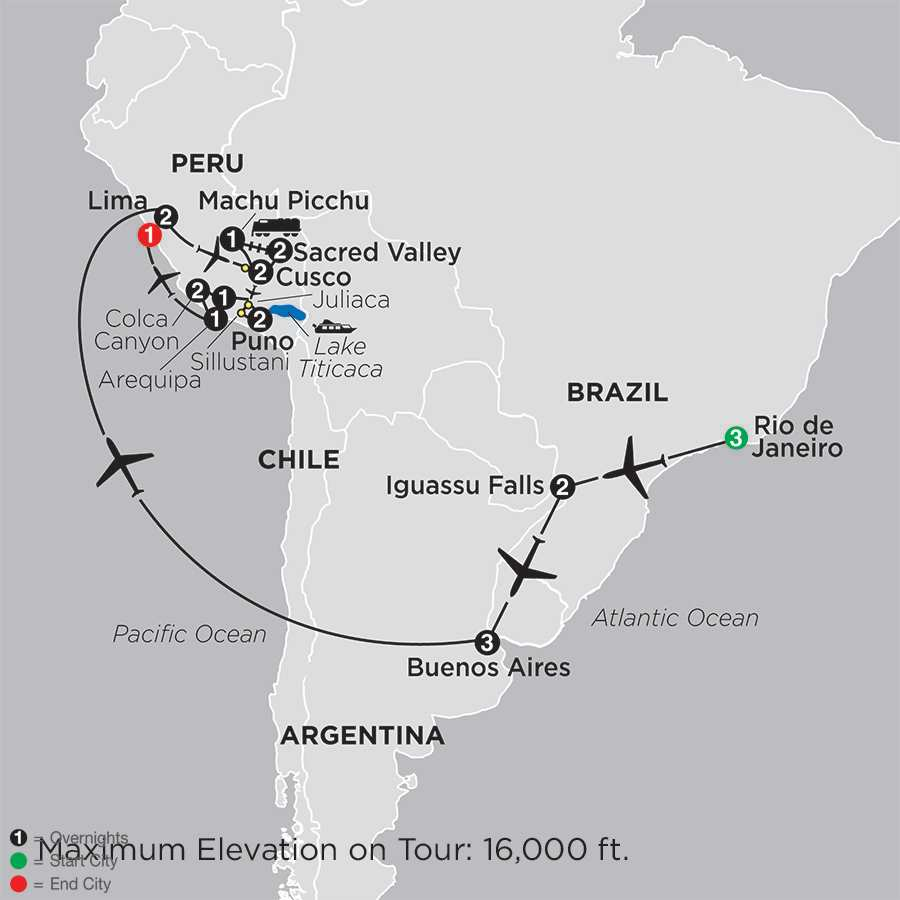 Ultimate South America with Arequipa & Colca Canyon map