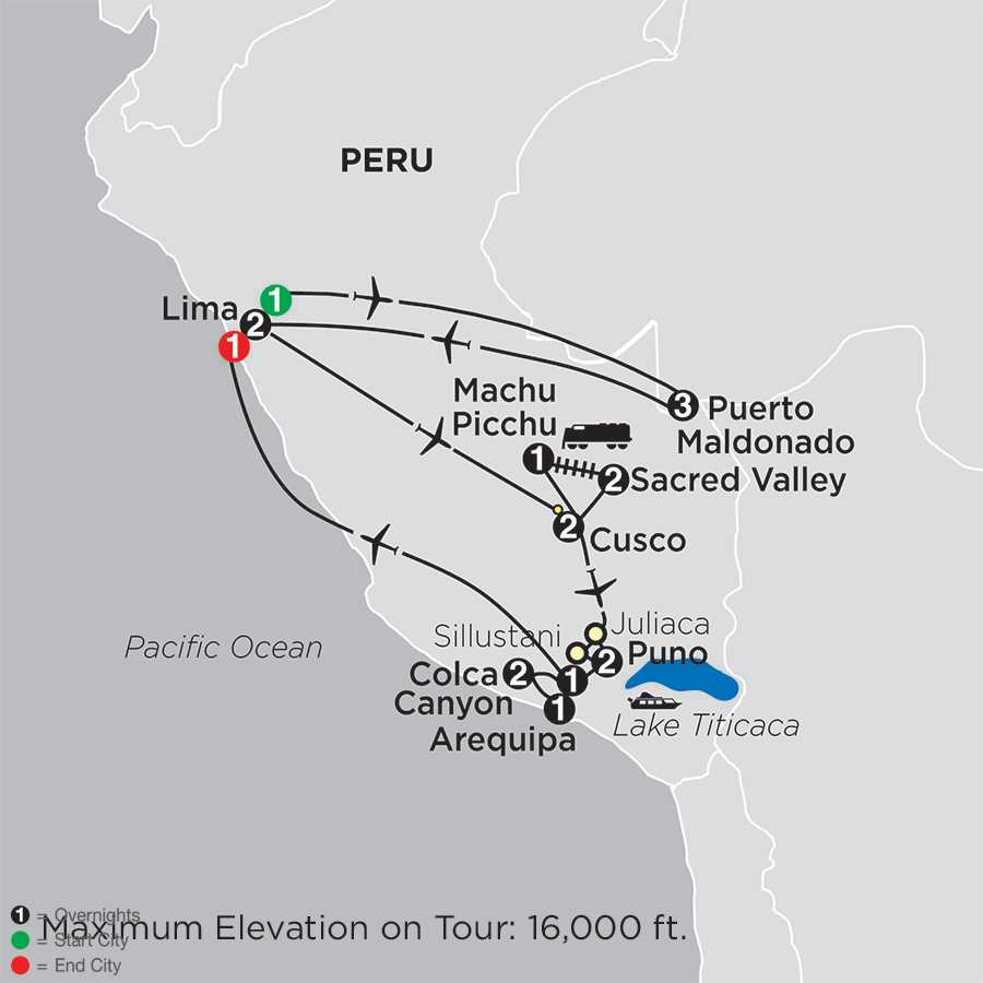 Mysteries of the Inca Empire with Peru's Amazon & Arequipa & Colca Canyon map