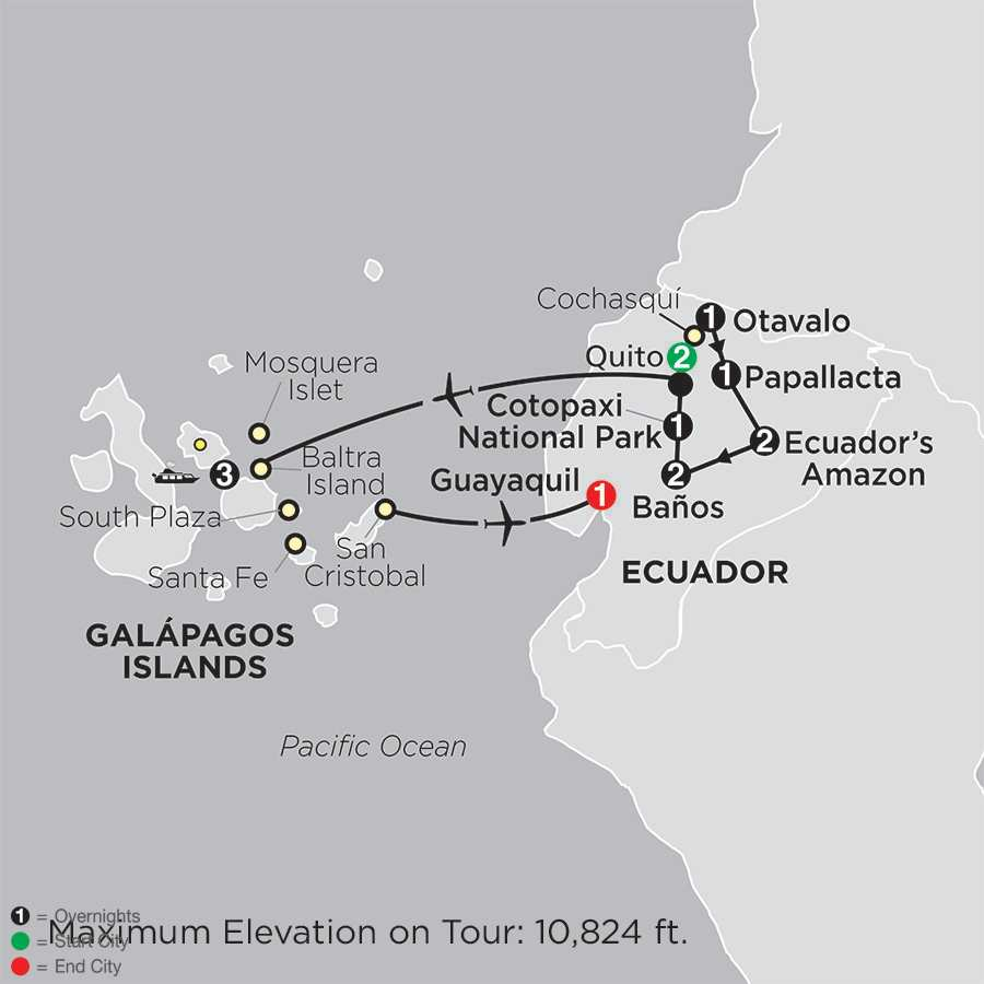 Ecuador: From the Andes to the Amazon with Galápagos Cruise map