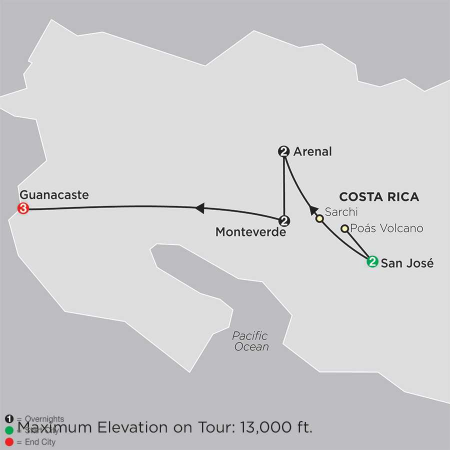 Costa Rica Escape with Guanacaste map
