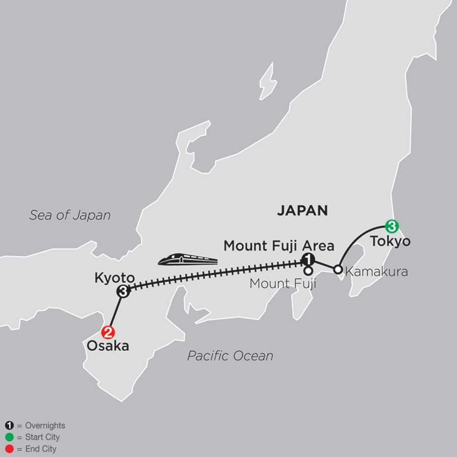 Classic Japan: The Golden Route with Osaka map