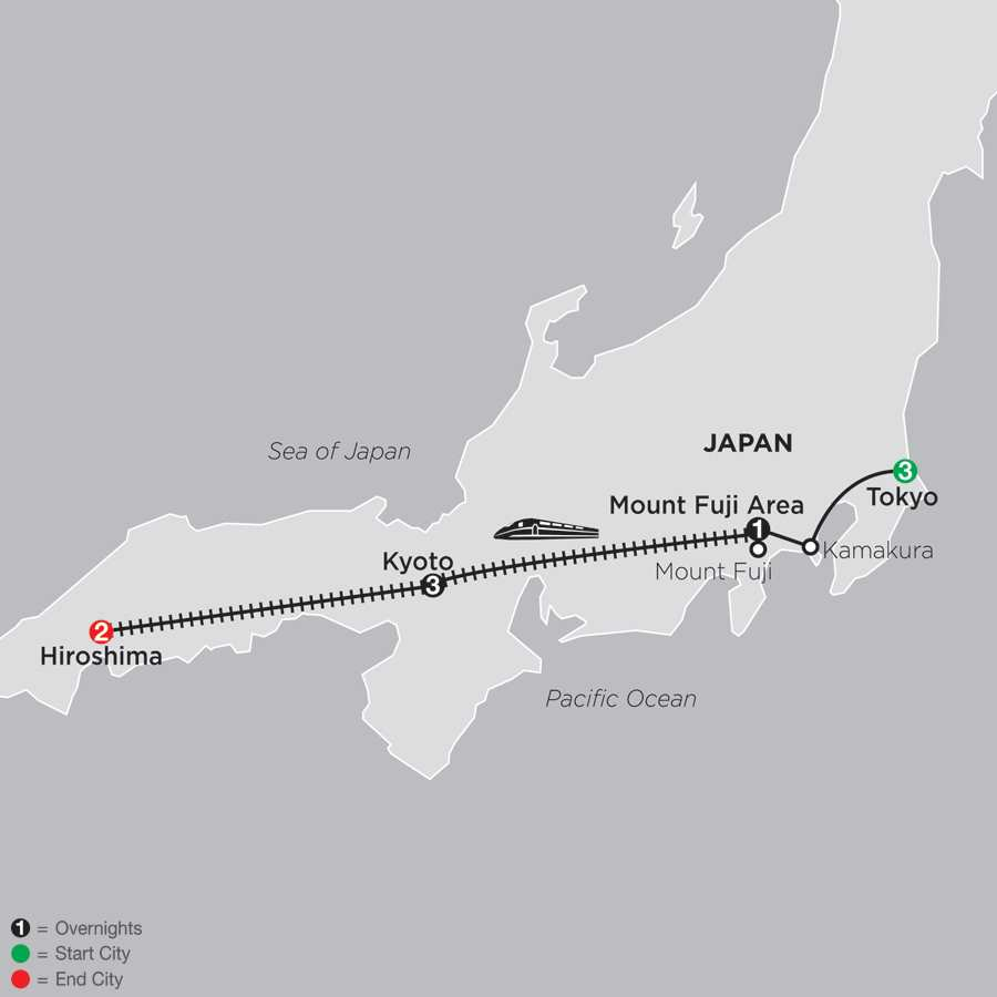 Classic Japan: The Golden Route with Hiroshima map