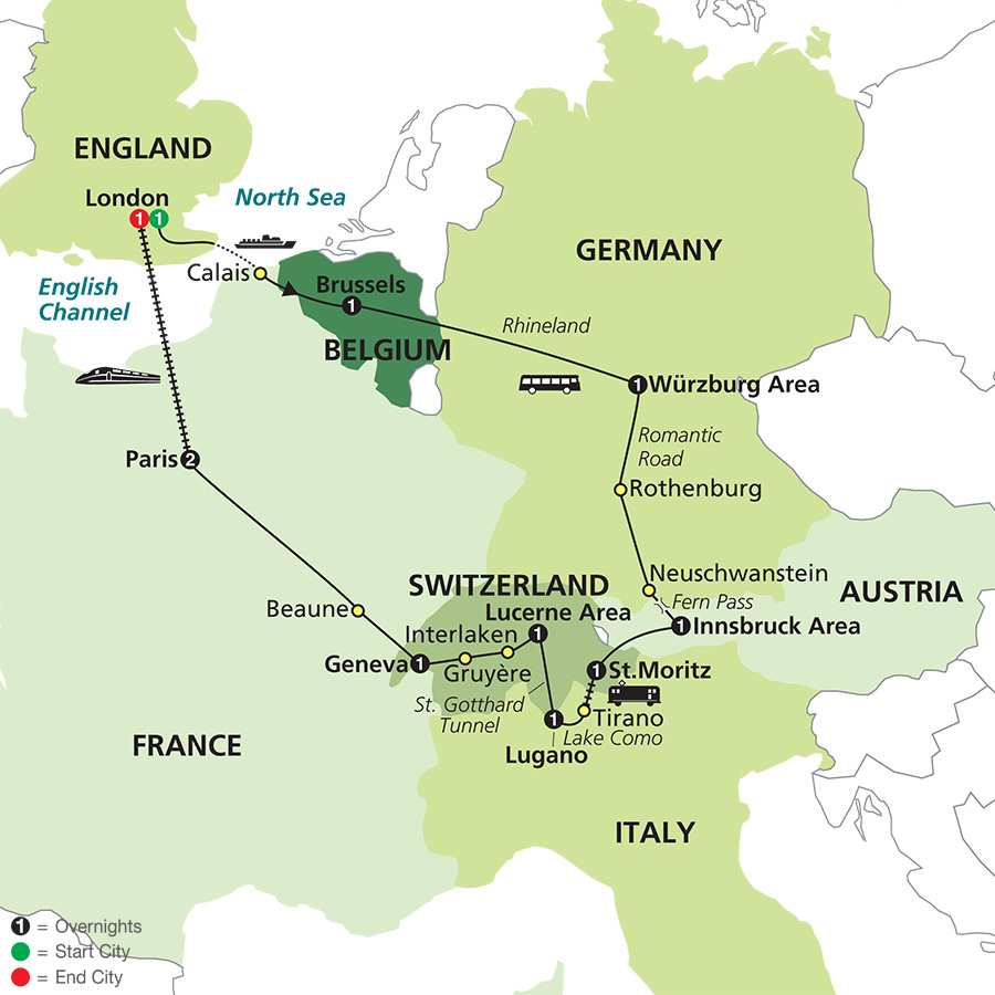 Scenic Europe & Bernina Express with Extended Stay in London map