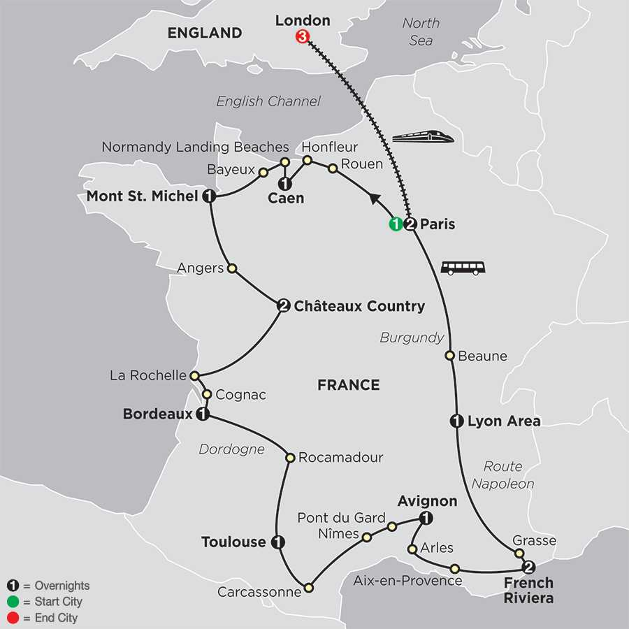 Grand Tour of France with extended Stay in London map