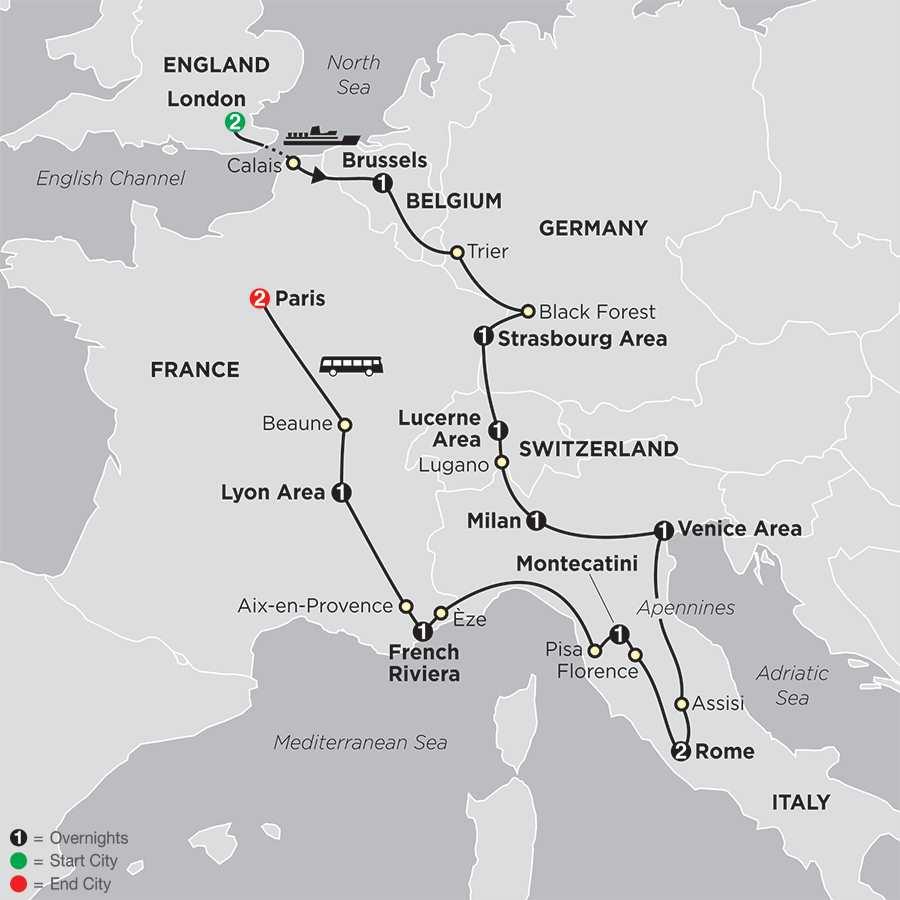 Wonders of Europe map