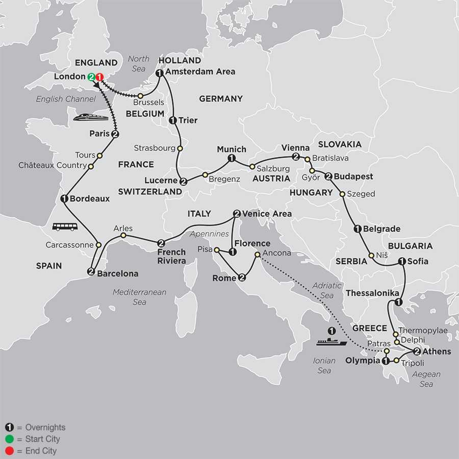All About Europe with Extended Stay in London map