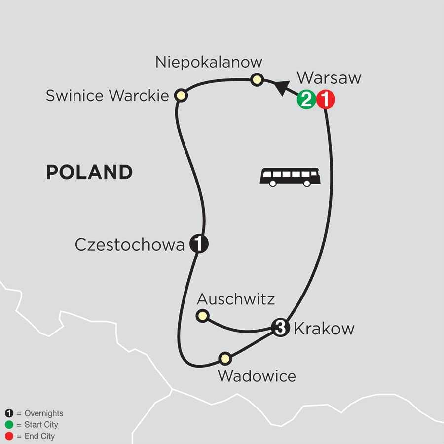 Spiritual Highlights of Poland – Faith-Based Travel map