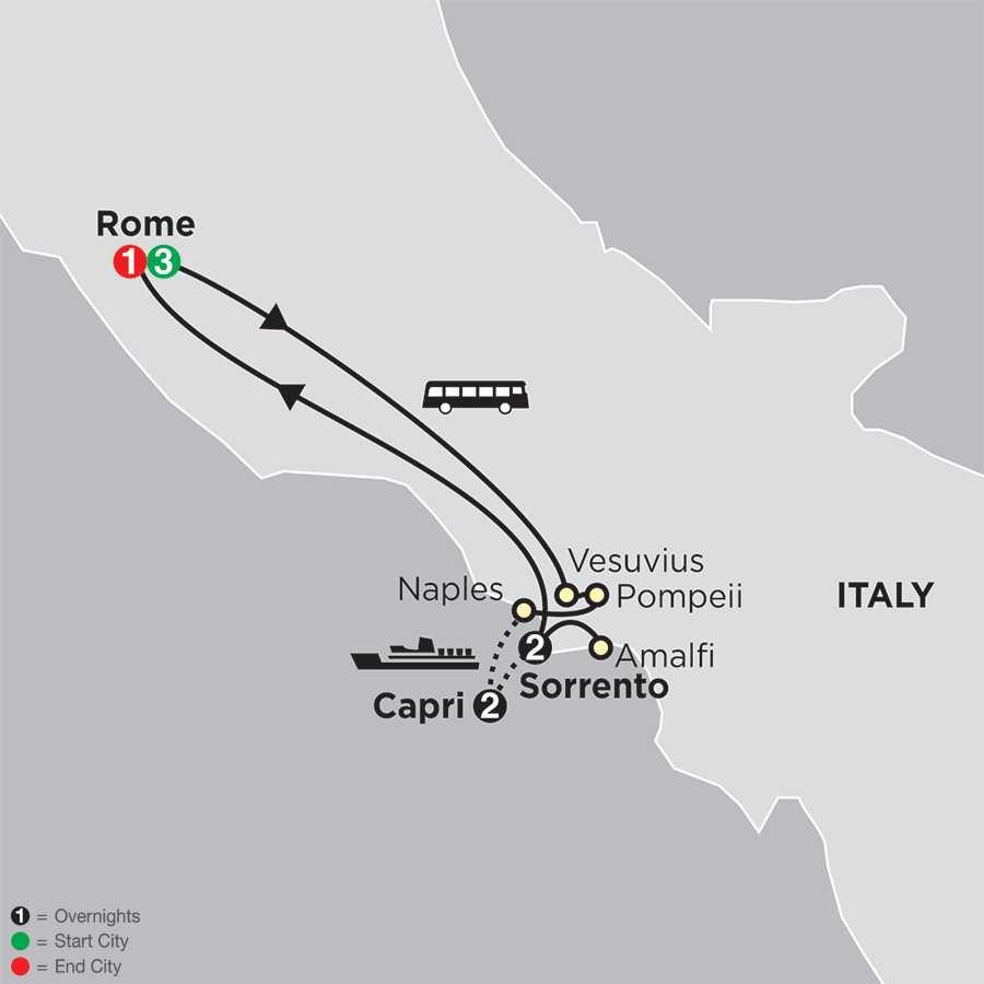 Rome, Sorrento & Capri map