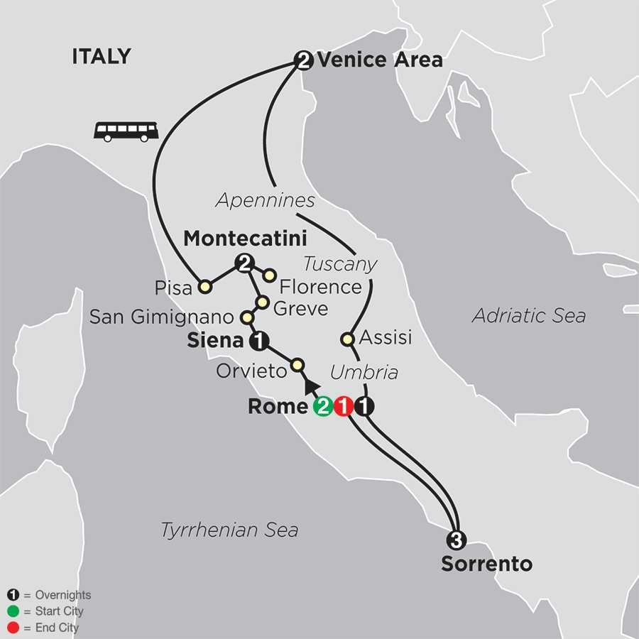 The Splendors of Italy with Sorrento map