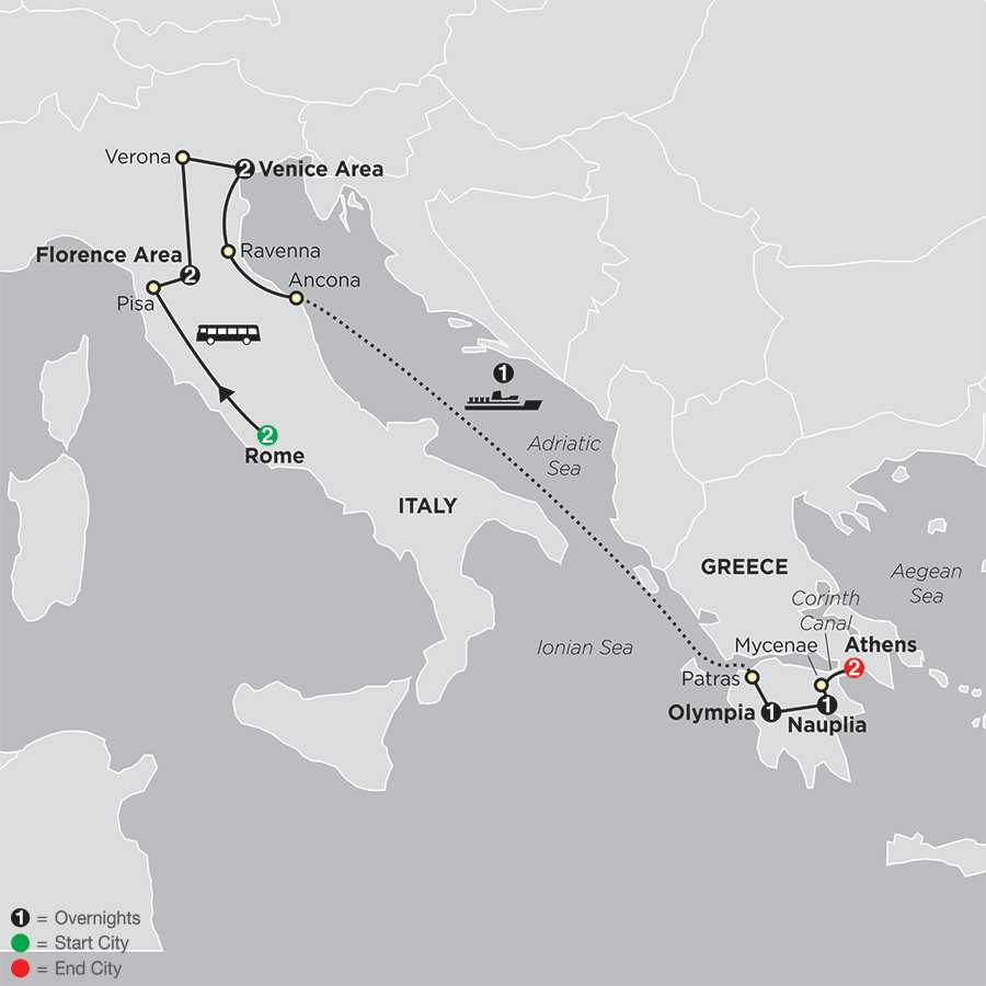 Italy & Greece map