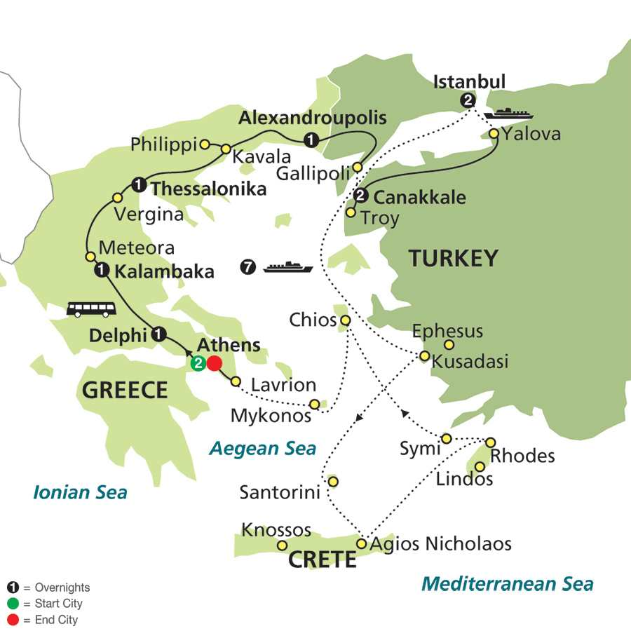 Highlights of Greece & Turkey with Aegean Cruise in Outside Stateroom map