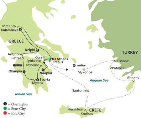 Greece & the Aegean in Outside Stateroom map