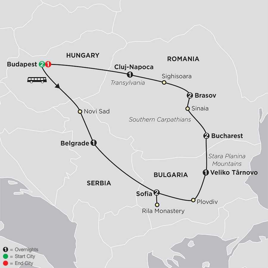 Treasures of the Balkans & Transylvania map