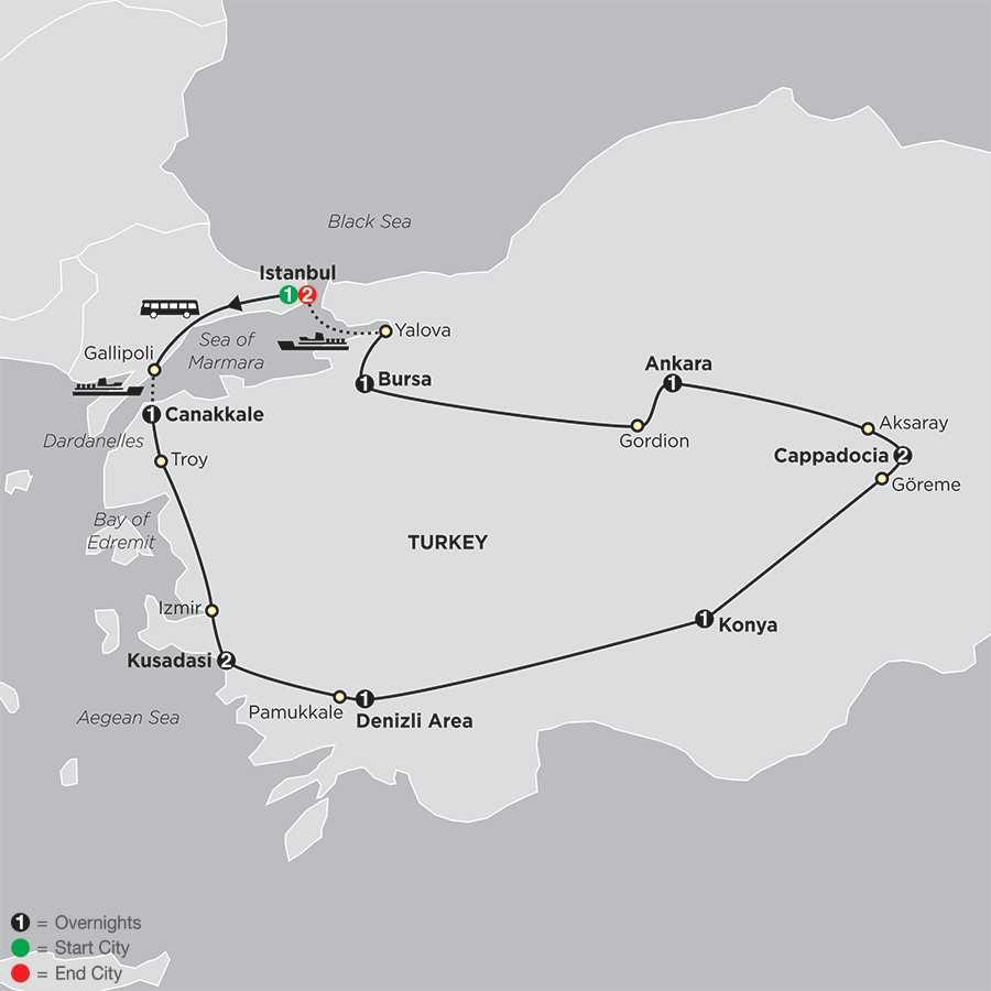 Grand Tour of Turkey map